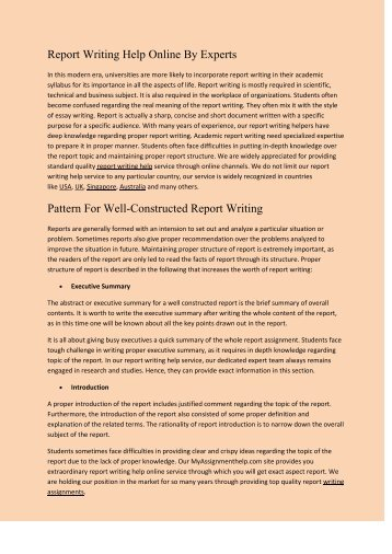Report Writing Help By Experts