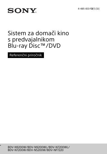 Sony BDV-N9200W - BDV-N9200W Guide de référence Slovénien