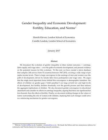 Gender Inequality and Economic Development Fertility Education and Norms