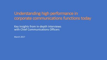 Key insights from in-depth interviews with Chief Communications Officers