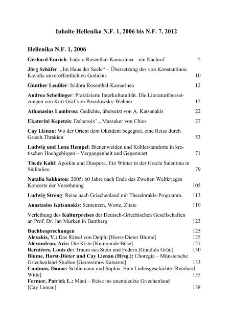 Hellenika Nf 7 2012 Vereinigung Der Deutsch Griechischen