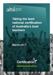 Taking the lead national certification of Australia's best teachers