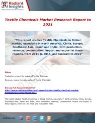 Textile Chemicals Market Trends, Share And Forecast Report 2021: Radiant Insights,Inc