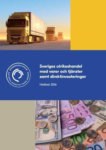 Sveriges utrikeshandel med varor och tjänster samt direktinvesteringar
