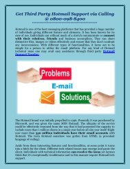 Get Third Party Hotmail Support via Calling on 0800-098-8400