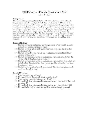 STEP Current Events Curriculum Map-Nick meyer - New Prague ...