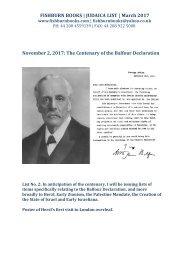 November 2 2017 The Centenary of the Balfour Declaration