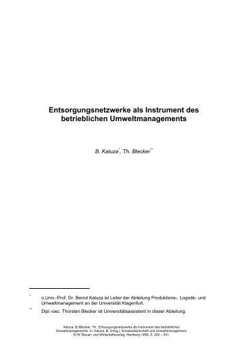 Entsorgungsnetzwerke als Instrument des ... - manufacturing.de