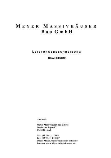 l eistungsbeschreibung - Meyer Massivhäuser Bau GmbH