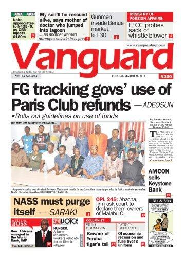 21032017- FG tracking govs' use of Paris Club refunds — ADEOSUN