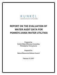 REPORT ON THE EVALUATION OF WATER AUDIT DATA FOR PENNSYLVANIA WATER UTILITIES