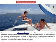 Advantages of Chartering a Bahamas Yacht