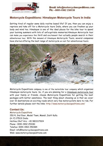 Himalayan Motorcycle Tours, Motorcycle Tours India