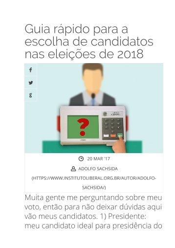Guia rápido para a escolha de candidatos nas eleições de 2018 - Instituto Liberal