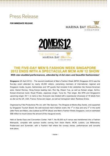 The five-day Men's Fashion Week Singapore 2012 - Marina Bay ...