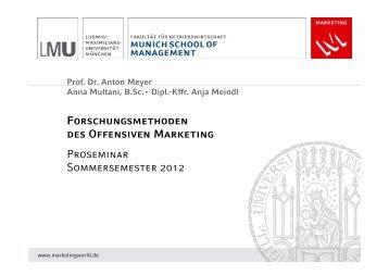 Prof. Dr. Anton Meyer Anna Multani, B.Sc.• Dipl.-Kffr. Anja Meindl