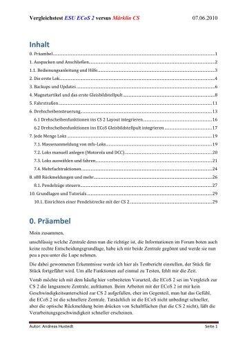Vergleichstes ESU ECoS 2 versus Märklin CS 2 - Stummi.de