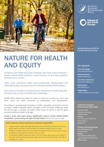 NATURE FOR HEALTH AND EQUITY