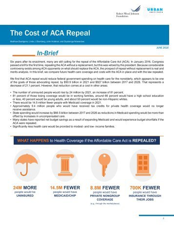 The Cost of ACA Repeal