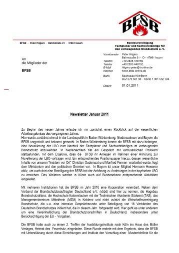 Newsletter Januar 2011 - BFSB eV