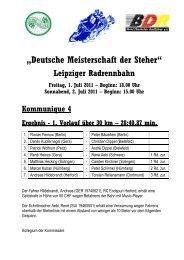 Beginn: 18.00 Uhr Sonnabend, 2. Juli 2011 – Beginn - Stayer.de