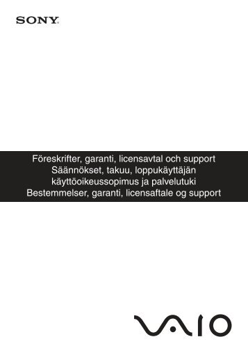 Sony VGN-P21S - VGN-P21S Documents de garantie Suédois