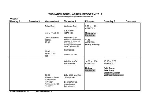 TÜBINGEN SOUTH AFRICA PROGRAM 2012 - Universität Tübingen