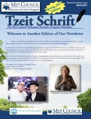 Tzeit Schrift - Met Council Holocaust Survivor Program Newsletter - March 2017