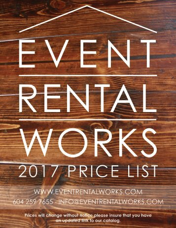 Event Rental Works Price list 2017