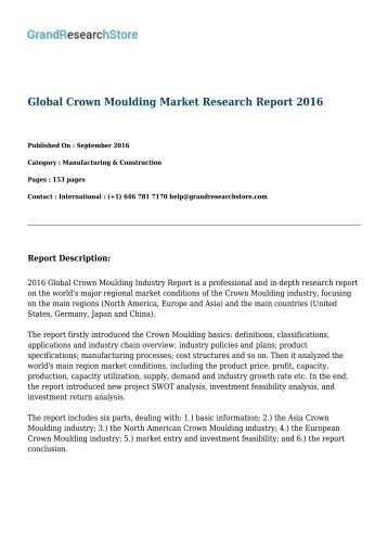 Global Crown Moulding Market Research Report 2017