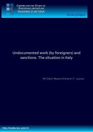 Undocumented work (by foreigners) and sanctions The situation in Italy