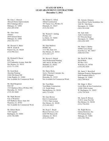 STATE OF IOWA LEAD ABATEMENT CONTRACTORS December 3