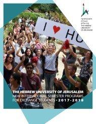 The Hebrew University of Jerusalem - New International semester programs 2017-18