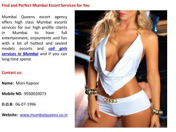 Find and Perfect Mumbai Escort Services for You