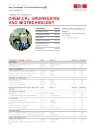 CHEMICAL ENGINEERING AND BIOTECHNOLOGY - Master EPFL