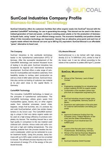 SunCoal Industries Company  Profile Biomass-to-Biocoal Technology