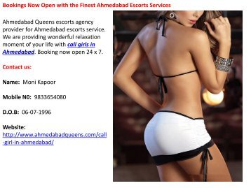 Bookings Now Open with the Finest Ahmedabad Escorts Services