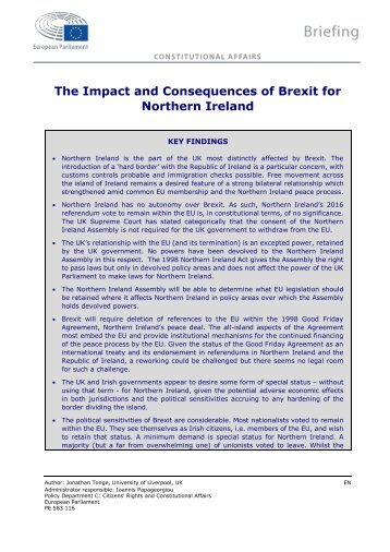 The Impact and Consequences of Brexit for Northern Ireland