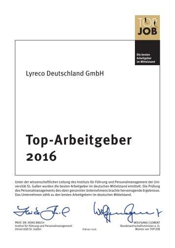 Lyreco Auszeichnung TOP JOB 2016