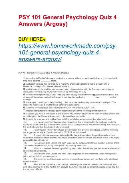 PSY 101 General Psychology Quiz 4 Answers (Argosy)
