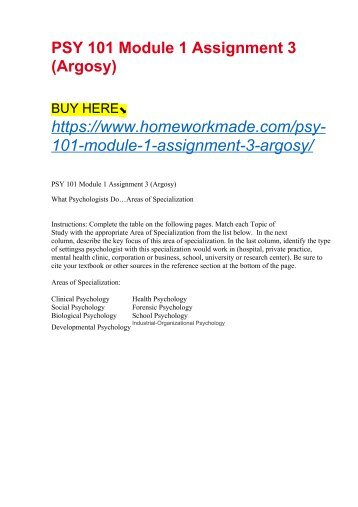 PSY 101 Module 1 Assignment 3 (Argosy)