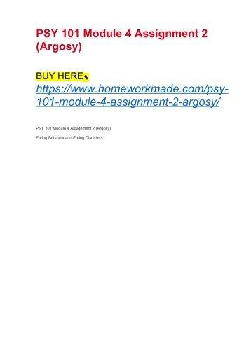 PSY 101 Module 4 Assignment 2 (Argosy)