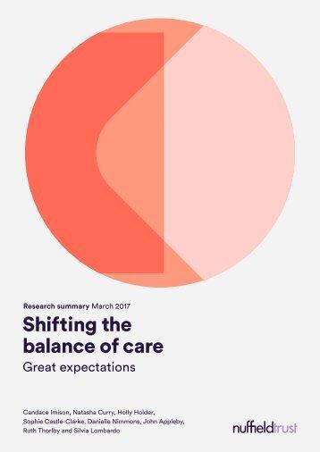 Shifting the balance of care