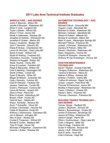 2011 Lake Area Technical Institute Graduates