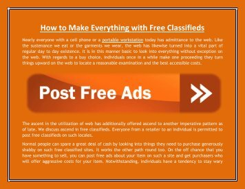 How to Make Everything with Free Classifieds