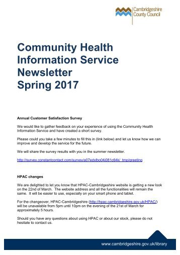 Community Health Information Service Newsletter Spring 2017