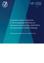 Ausgewählte Fragen und Antworten zu Rechnungslegung und Prüfung von Jahresrechnungen nach Swiss GAAP FER 21 bei Organisationen mit Zewo-Gütesiegel