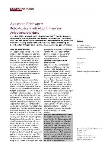 Aktuelles Stichwort: Robo-Advice - mit Algorithmen zur Anlageentscheidung