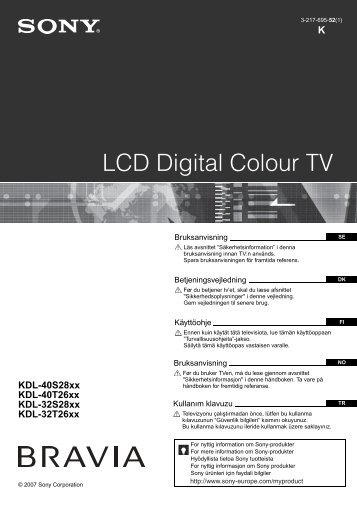 Sony KDL-32S2810 - KDL-32S2810 Consignes d'utilisation Danois