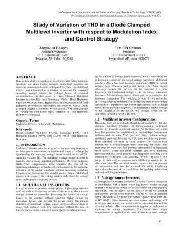 Study of Variation of THD in a Diode Clamped Multilevel Inverter ...
